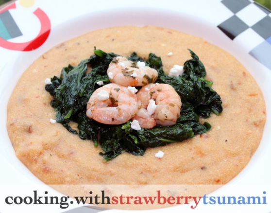Shrimp with Tomato & Feta Polenta