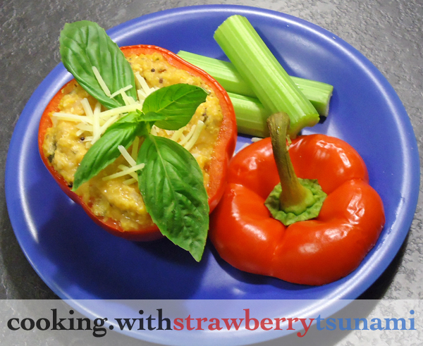Pizza Polenta Stuffed Peppers | Cooking with Strawberry Tsunami
