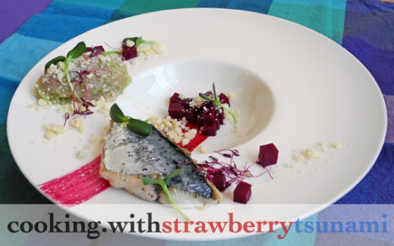 Seared Spanish Mackerel & Tartare with Celery and Lime, Pickled Beets & Beet Reduction Sauce, White Chocolate Horseradish Crumble, Micro Sunflower Sprouts, Micro Red Amaranth