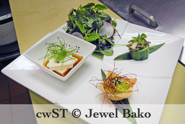 THE YASAI HASSUN: *Raw Tofu with Micro Spring Onions and Ponzu Sauce *Komatsuna Salad with Citrus Vinaigrette, Micro Purple Radish and Sliced Radish *Hollowed Cucumber with Soba Noodles and Shimeji Mushrooms, Micro Cilantro *Avocado Mousse Wonton Cup with Chili Threads and Sesame Seeds