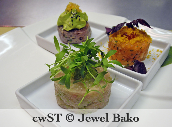TRIO OF TARTARES: *Tuna Tartare with Cucumber, Avocado Mousse, Sesame Seeds, Yellow Tobiko **Salmon Tartare with Chives and Lemon Zest, Ikura, Bottarga, MIcro Red Shiso *Hamachi Tartare with Shishito Pepper and Lime Zest, Wasabi Tobiko, Micro Cilantro