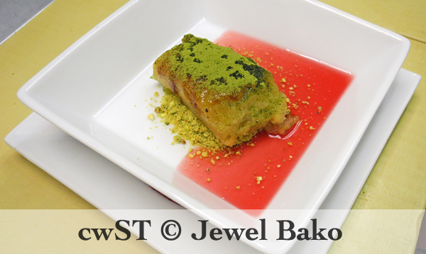 THE MATCHA TORIJA with Pistachio Meal & Citrus Sauce
