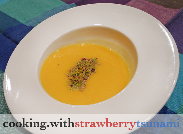 Butternut Ginger Soup with Pistachio | Cooking with Strawberry Tsunami